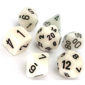 White & Black Mother of Pearl Polyhedral 7 Dice Set